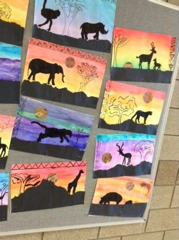 pattern art projects middle school art at becker middle school silhouettes of the serengeti
