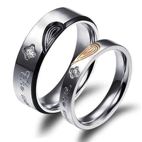 fashion his and rings shape promise