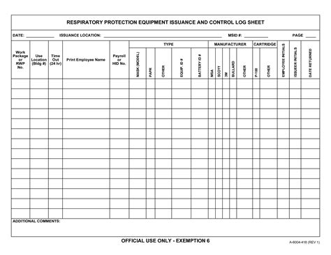 equipment log book template equipment service record template pictures to pin on