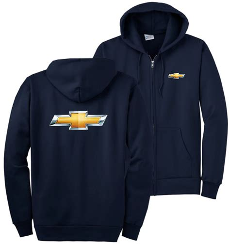 chevrolet bowtie navy zip up hoodie