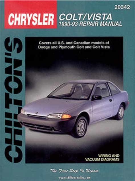 car repair manuals online pdf 1993 eagle summit engine control dodge colt vista chilton repair manual 1990 1993 hay20342