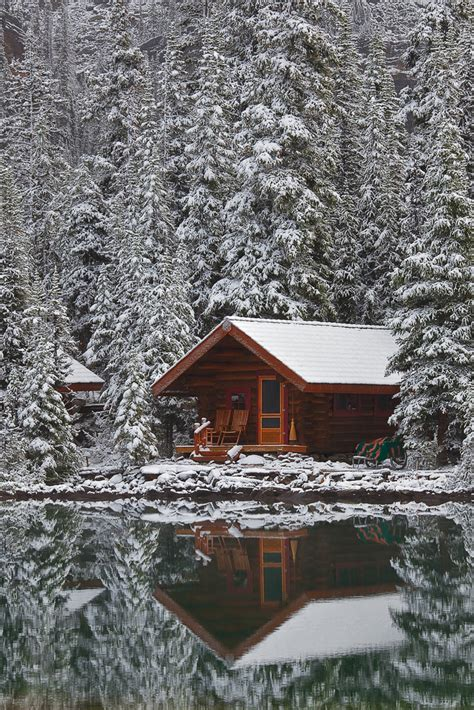 Cabin By The Water by Rustic Cabin Of Lake O Hara Lodge In Snow Rustic