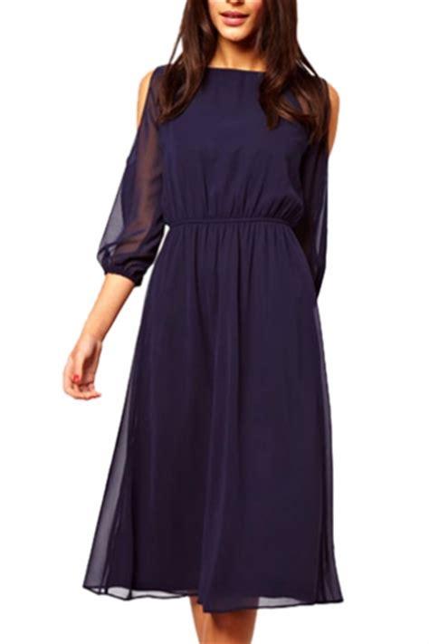 3 4 Sleeve Plain A Line Dress plain sheer 3 4 sleeve boat neck chiffon knee length a