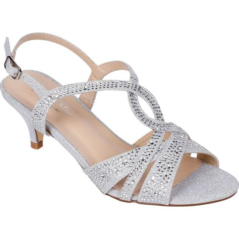 s silver dress shoes low heel sandals wedding rhinestone open toe strappy ebay