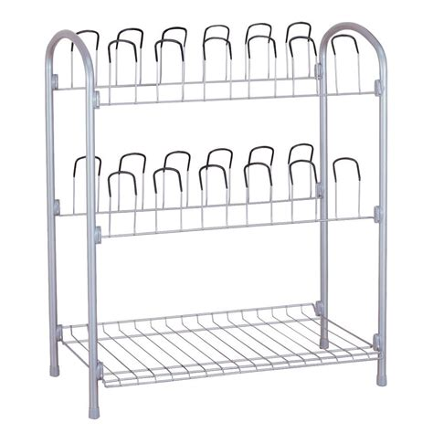 neu home 12 pair storage shoe rack 17704w 1 the home depot