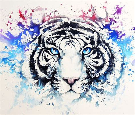watercolor tiger tattoo watercolor blue white tiger design
