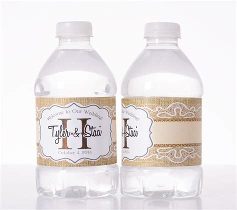 wedding water bottle labels burlap wedding custom water bottle labels labelsrus