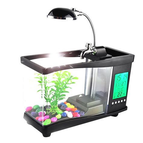 Lu Led Aquarium Mini usb acrylic mini fish tank aquarium led lighting light