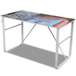 table de bureau rectangulaire en verre tremp 233 et fer
