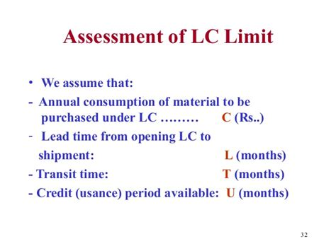 Letter Of Credit Limit Assessment Transit Monthly Limit