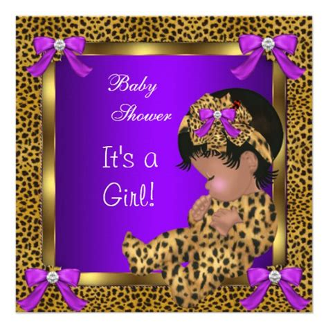 Purple Cheetah Print Baby Shower Invitations by Baby Shower Baby Leopard Purple Gold 2