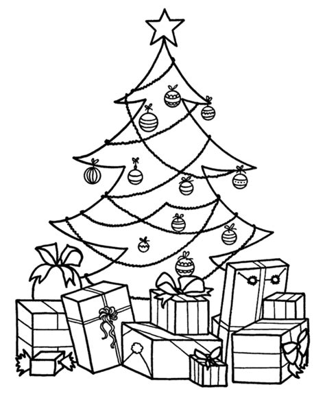 christmas tree with gifts coloring page christmas tree with presents coloring page coloring home