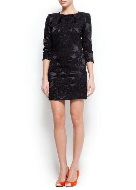 Dress Mango Kotak mango brocade dress in black lyst