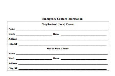 5 Contact Info Templates Formats Exles In Word Excel Free Contact Information Template