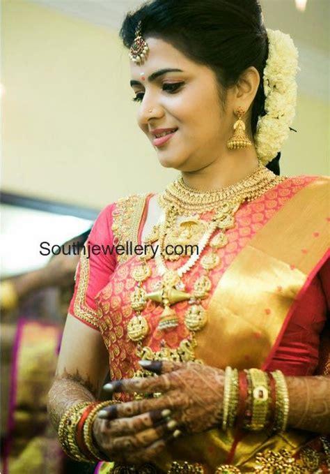 hairstyle for square face on saree divya darshini wedding jewellery bride pinterest