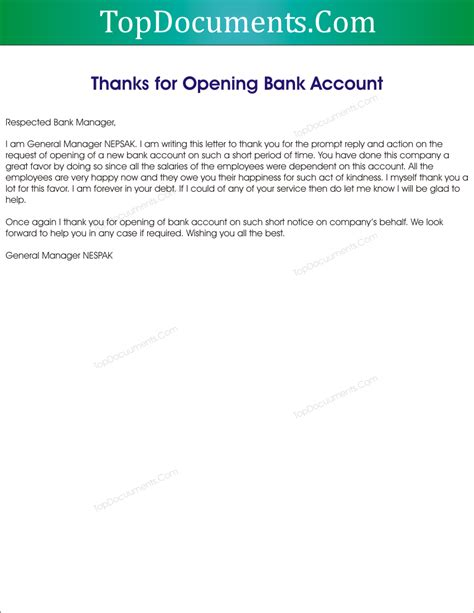Bank Thank You Letter Sle Thank You Letter For Opening Bank Account Top Docx