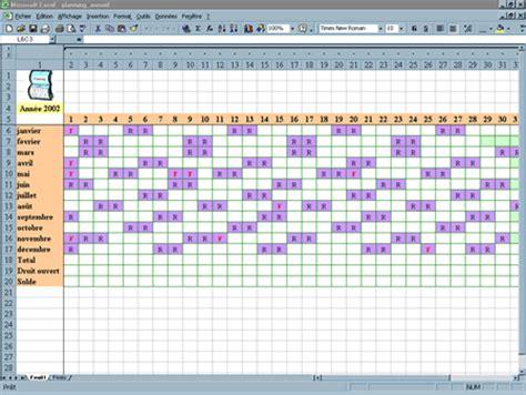 gestion d un planning annuel mod 232 les excel