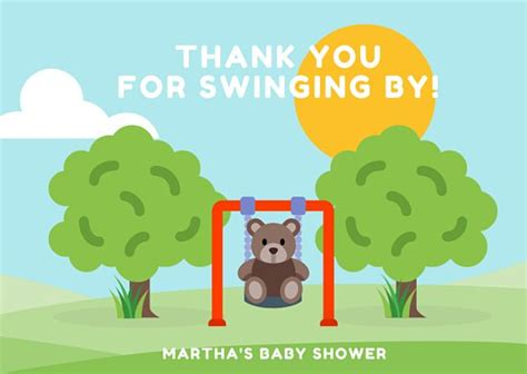 Yellow And Green Baby Shower - thank you card templates canva