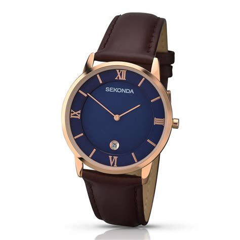 sekonda gents gold leather with blue
