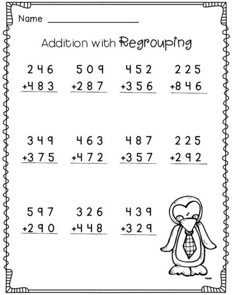 Free Math Worksheets For Grade 3 by 3 Digit Addition With Regrouping 2nd Grade Math
