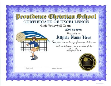 printable certificates for volleyball volleyball certificates