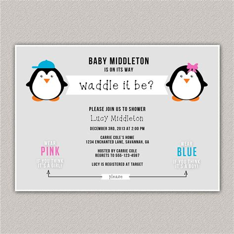 Guess The Gender Baby Shower by Waddle It Be Baby Shower Invitation Guess The Gender Baby