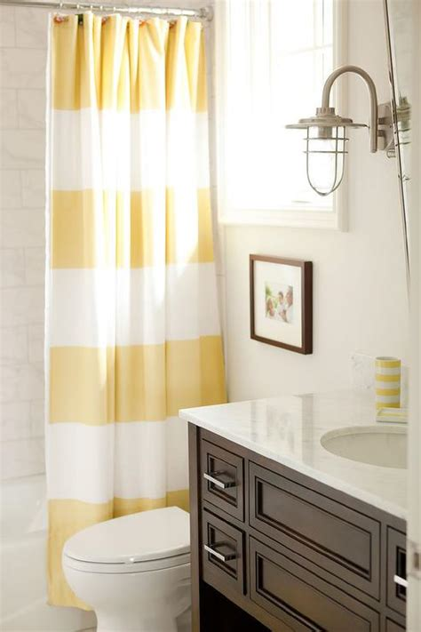 yellow and brown bathroom yellow and brown bathroom with stripe shower curtain