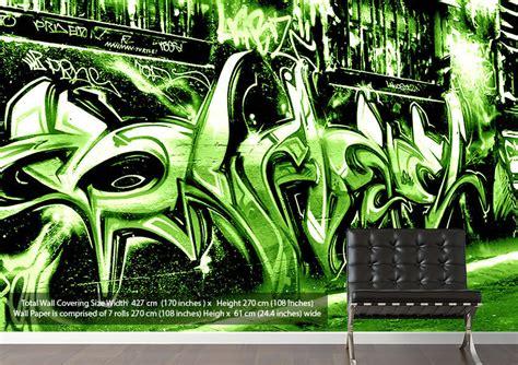 graffiti wallpaper green urban green wallpaper by wallart direct co uk