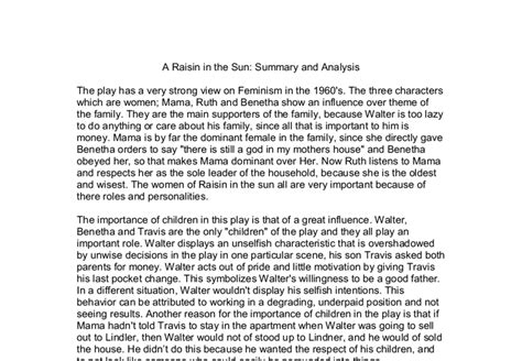 A Raisin In The Sun Essays by A Raisin In The Sun Summary And Analysis Gcse Classics Marked By Teachers