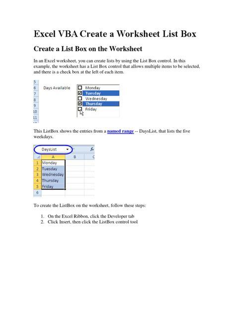 vba sheet listbox free worksheet printables