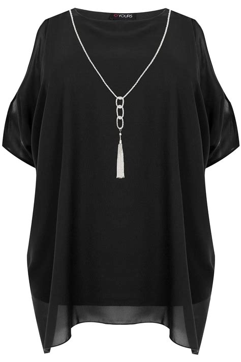 Chiffon Top black cold shoulder chiffon top with batwing sleeves plus