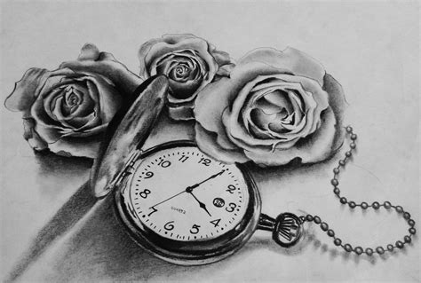 pocket watch and rose tattoo design pocket images designs