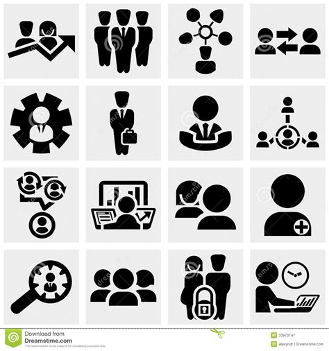 Vector Business Icons Set Royalty Free Stock Photos Image 1095468 Business Vector Icons Set On Gray Stock Vector Illustration Of Laptop Person 33973147