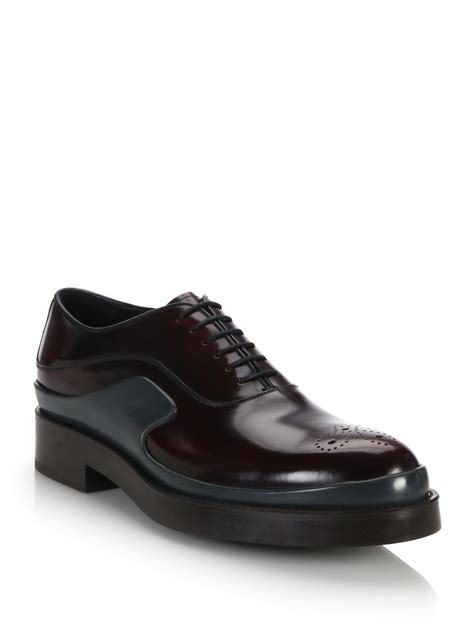 prada oxford shoes prada runway spazzolato leather oxfords in for lyst