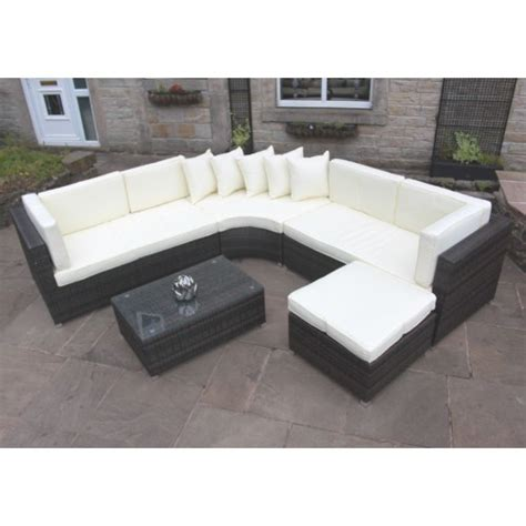 Curved Rattan Sofa Rattan Outdoor Curved Corner Sofa Set Garden Furniture In Brown