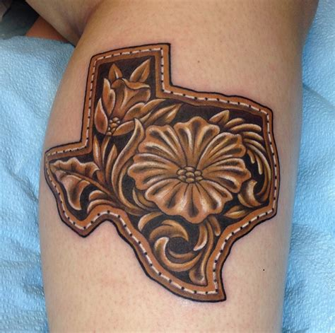 leather tooled texas by john clark tattoonow