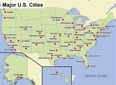 us map with big cities map of largest cities in us major cities in the usa