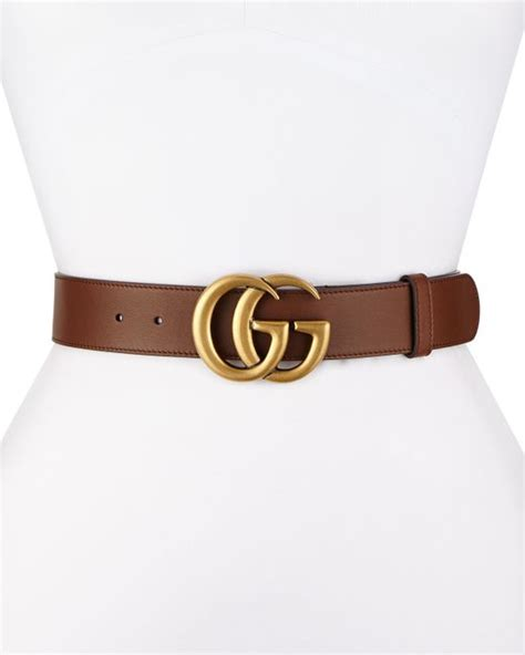 gucci leather belt with gg buckle in brown lyst