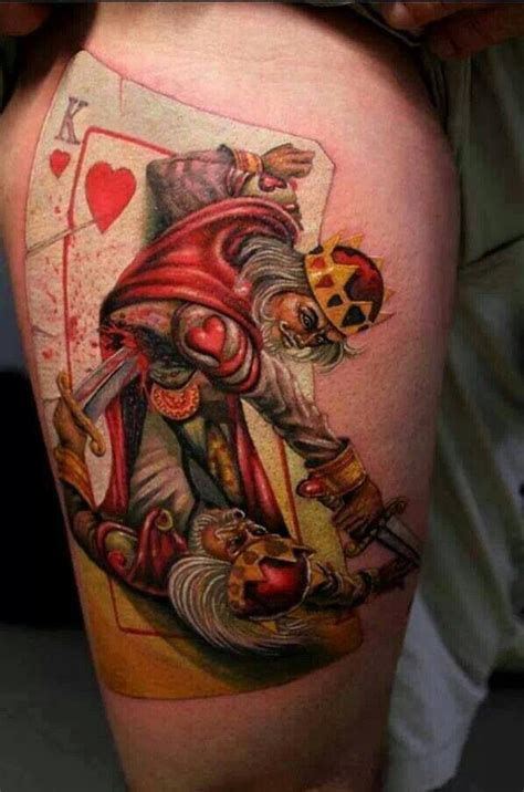 king and queen card tattoos king of hearts tattoos bodymods