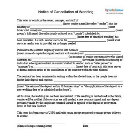 Letter Cancelling Wedding Venue How To Cancel A Wedding Lovetoknow