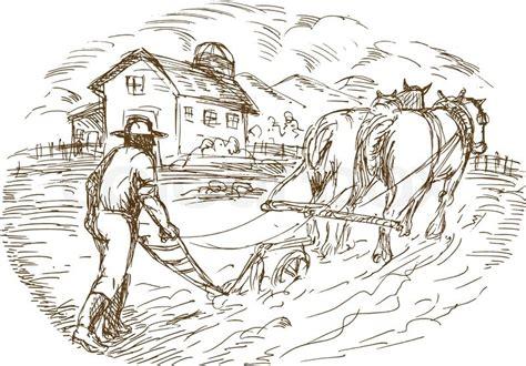scheune zeichnung landwirt und pferd pfl 252 das feld mit scheune bauernhaus