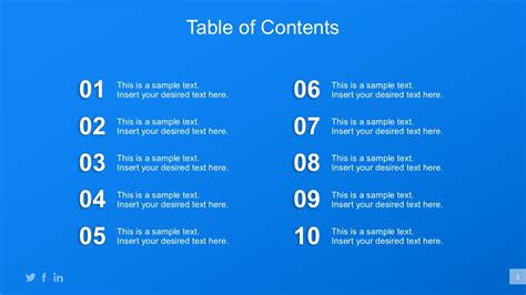 Business Plan Powerpoint Templates Table Of Content In Powerpoint