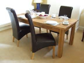 Setting A Dining Table Oak Solid Oak Dining Table Set 160cm Leather Dining Table Review Compare Prices Buy