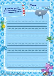 ocean writing paper ocean animals worksheets ocean animals free printable stationery for kids primary