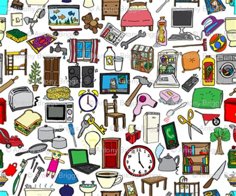 home items household items pattern fabric antonybriggs spoonflower