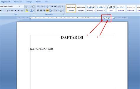 cara membuat titik daftar isi menggunakan tab cara membuat daftar isi dengan titik titik otomastis di
