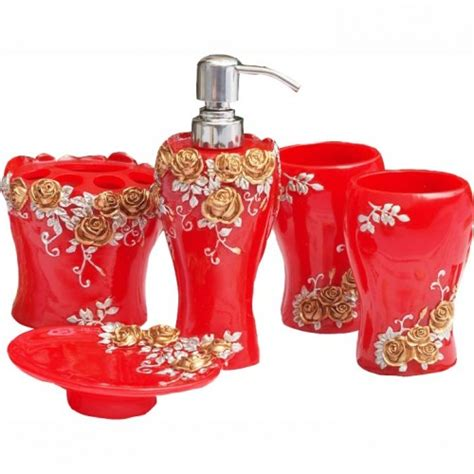 red rose bathroom accessories red bathroom set