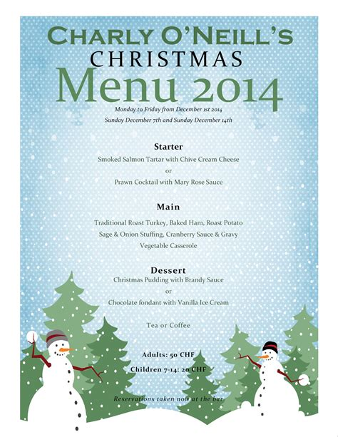 charly o neill s christmas menu 2014