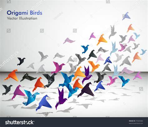 How Origami Started - indoor flight origami birds start fly stock vector