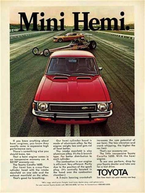 vintage toyota ad mini hemi 1972 toyota corolla deluxe coupe